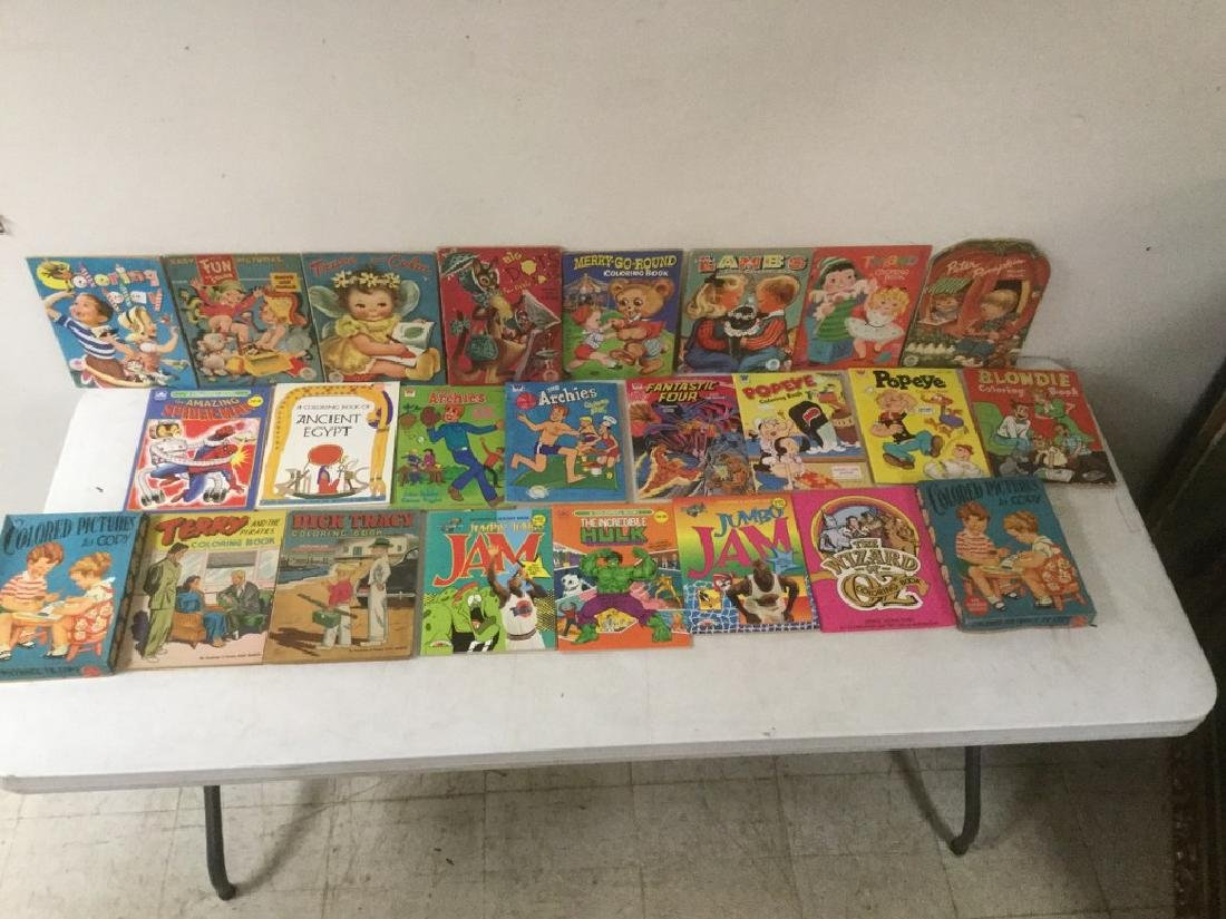 BOXLOT OF 30 COLORING BOOKS, 1950'S TO 1990'S, MOST