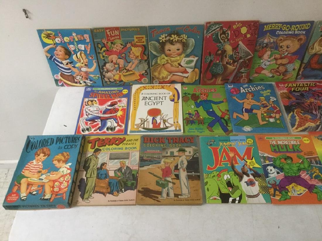 BOXLOT OF 30 COLORING BOOKS, 1950'S TO 1990'S, MOST - 2