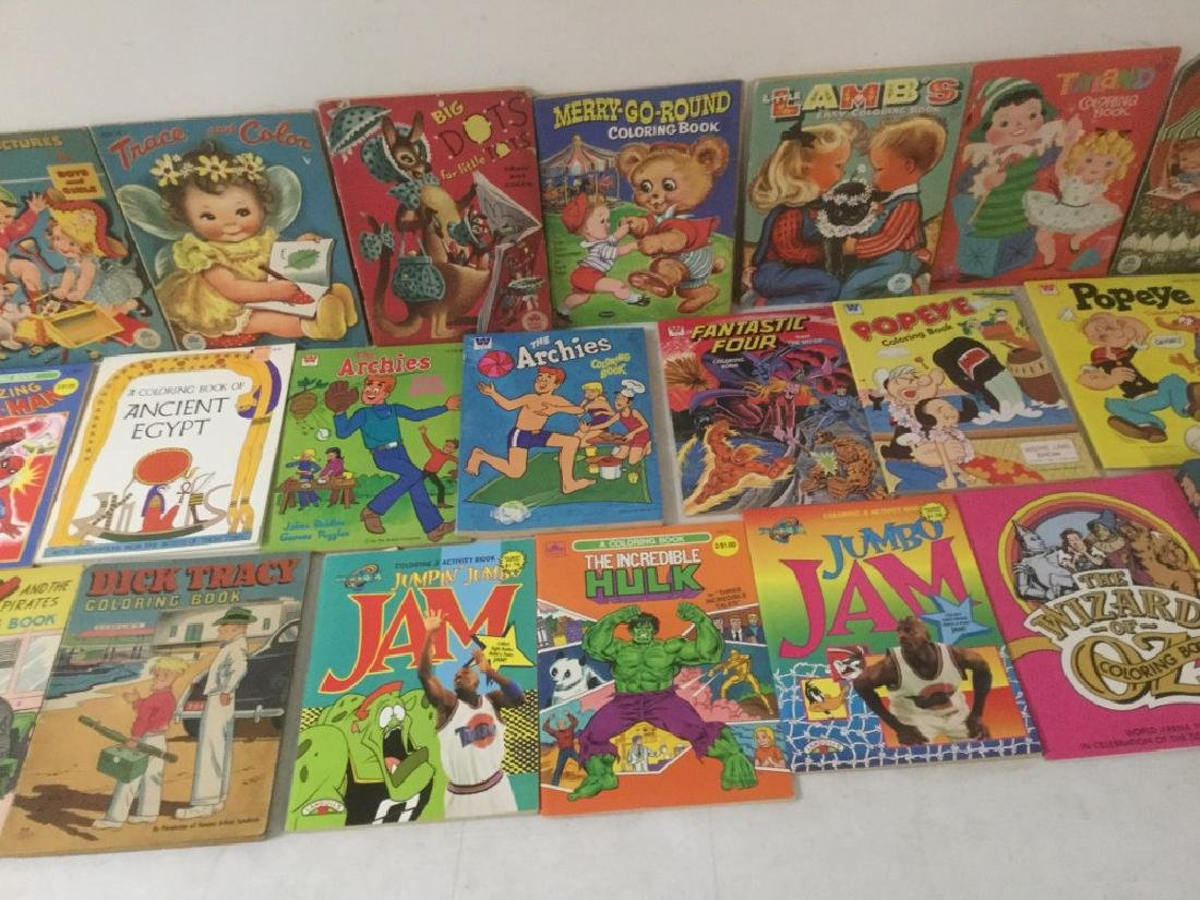 BOXLOT OF 30 COLORING BOOKS, 1950'S TO 1990'S, MOST - 3