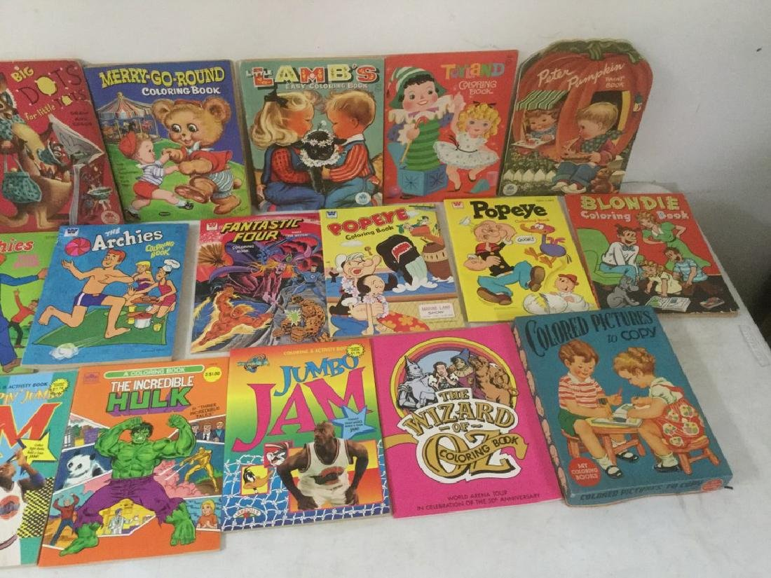 BOXLOT OF 30 COLORING BOOKS, 1950'S TO 1990'S, MOST - 4