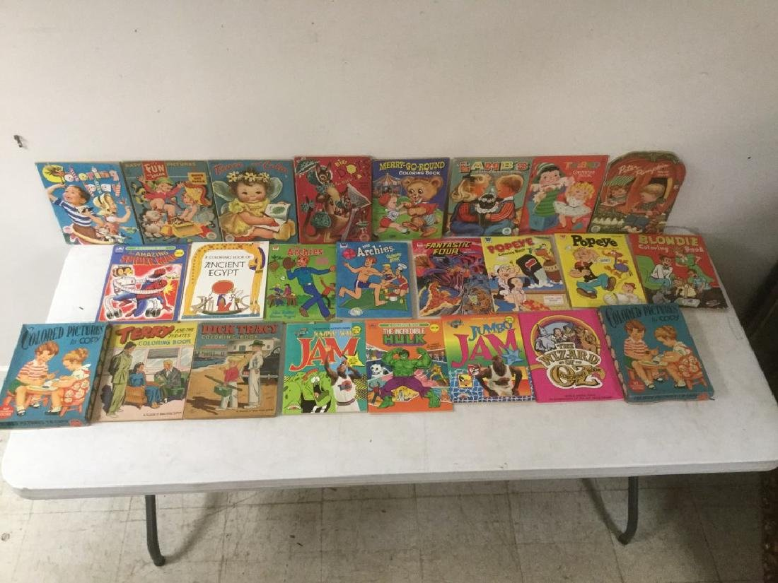 BOXLOT OF 30 COLORING BOOKS, 1950'S TO 1990'S, MOST - 5