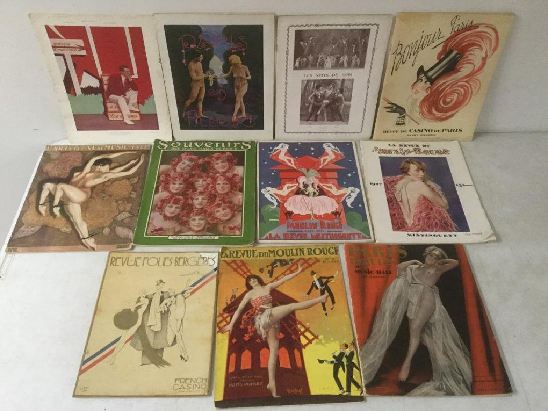 LOT OF 11-1920'S PARIS SOUVENIR PROGRAMS INCLUDING LA