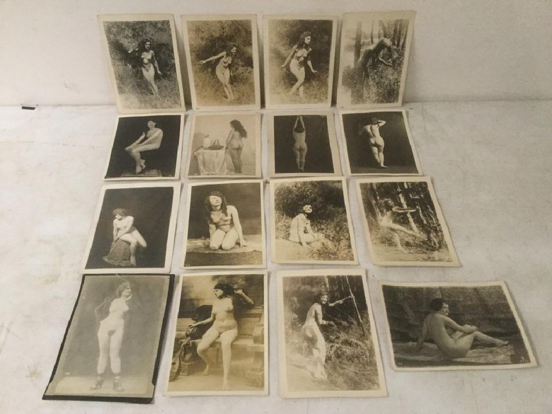 16 CIRCA 1920'S NUDE FEMALE PHOTOGRAPHS, STAMPED ON