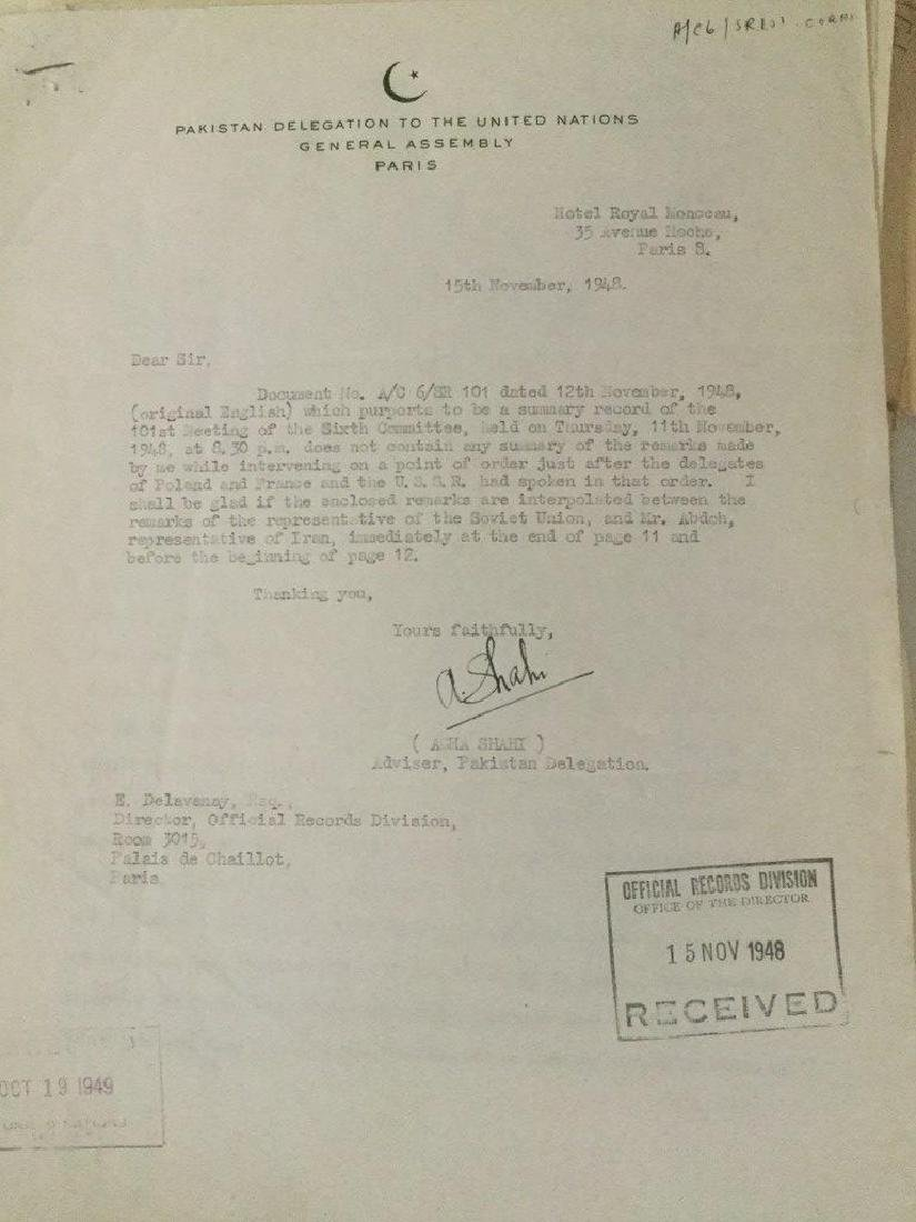 HUGE 1940'S UNITED NATIONS ARCHIVE OF SIGNED - 2