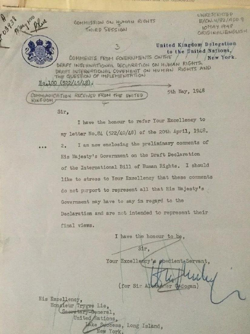 HUGE 1940'S UNITED NATIONS ARCHIVE OF SIGNED - 6