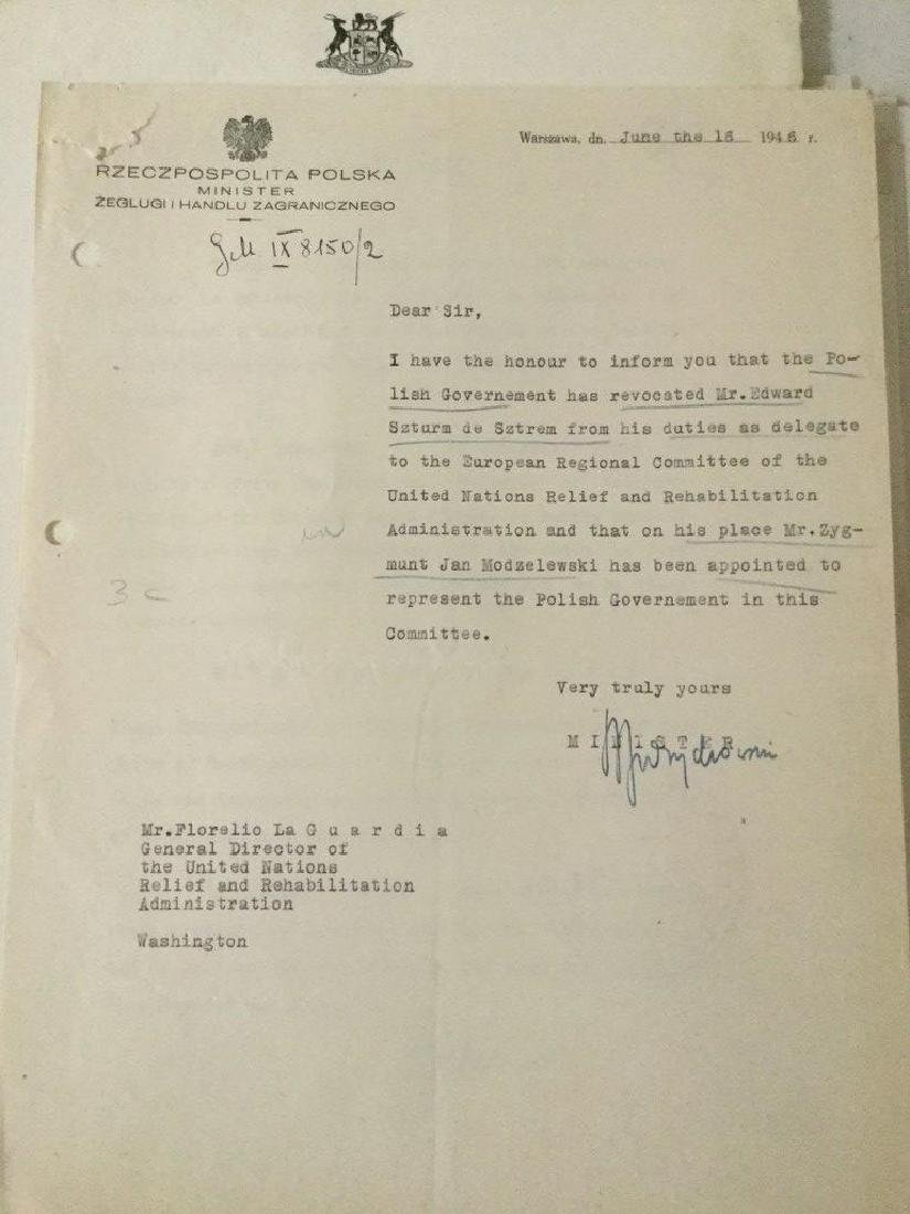 HUGE 1940'S UNITED NATIONS ARCHIVE OF SIGNED - 8