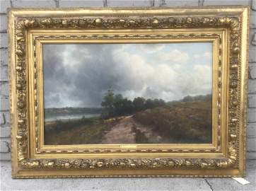 THEO. LOMBARD EARLY O/C IMPRESSIONIST LANDSCAPE, SIGNED