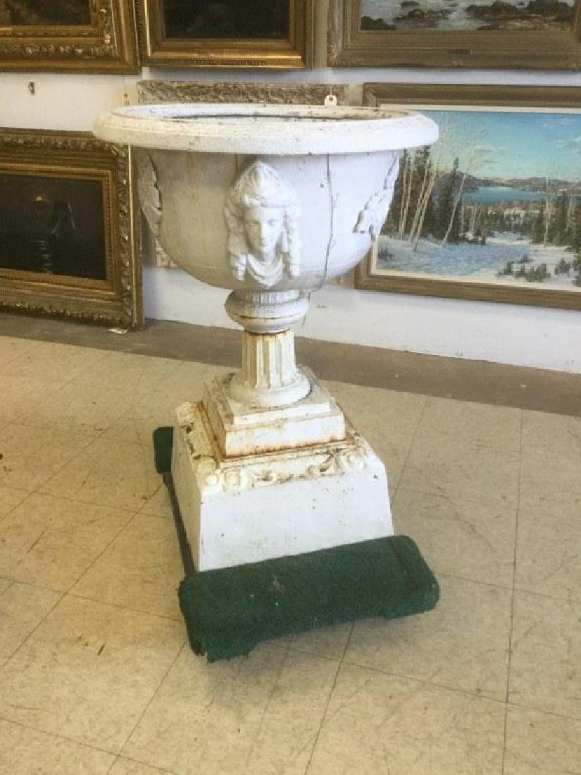 VICTORIAN CAST IRON PEDESTAL URN WITH 3 JENNY LIND