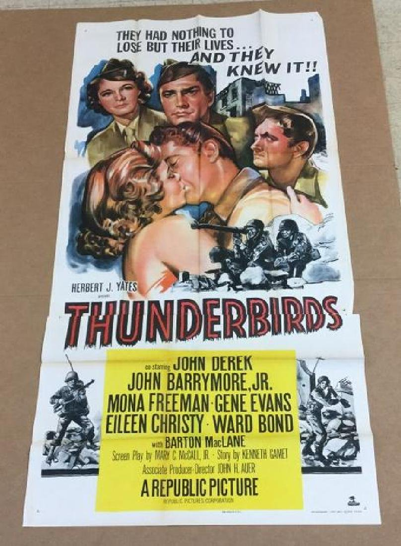 3 SHEET MOVIE POSTER THUNDERBIRDS 1952 IN UNTOUCHED