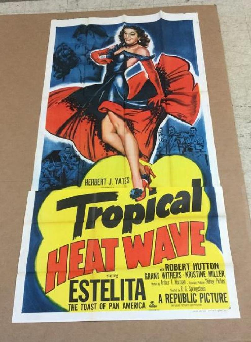 3 SHEET MOVEI POSTER TROPICAL HEAT WAVE 1952, IN