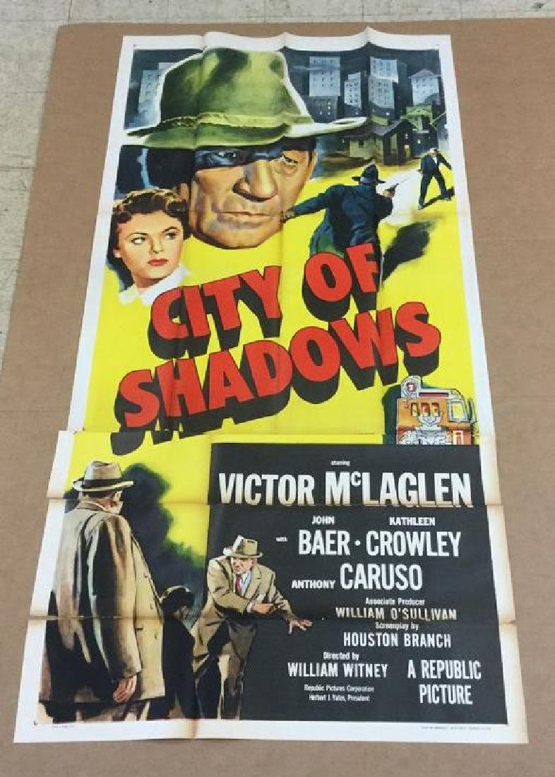 3 SHEET CITY OF SHADOWS 1955 FROM UPSTATE, N.Y. MOVIE