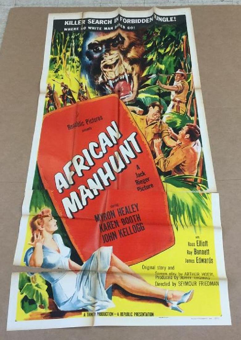3 SHEET MOVIE POSTER AFRICAN MANHUNT 1954, FROM