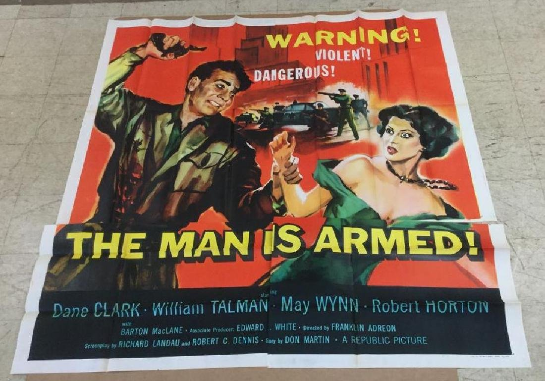6 SHEET MOVIE POSTER THE MAN IS ARMED 1949, UNTOUCHED