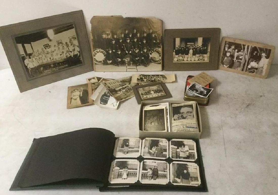 LOT OF EARLY PHOTOGRAPHY WITH LARGE BAND PHOTOS, SNAP