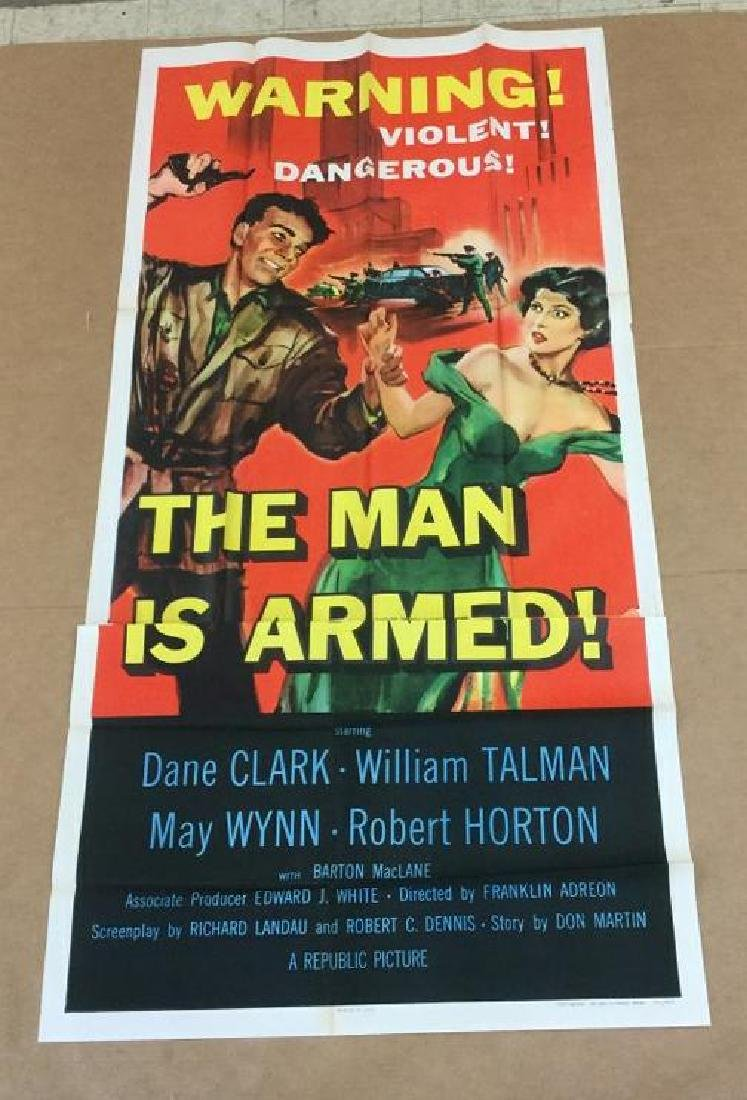 3 SHEET MOVIE POSTER A MAN IS ARMED, 1949, UNTOUCHED