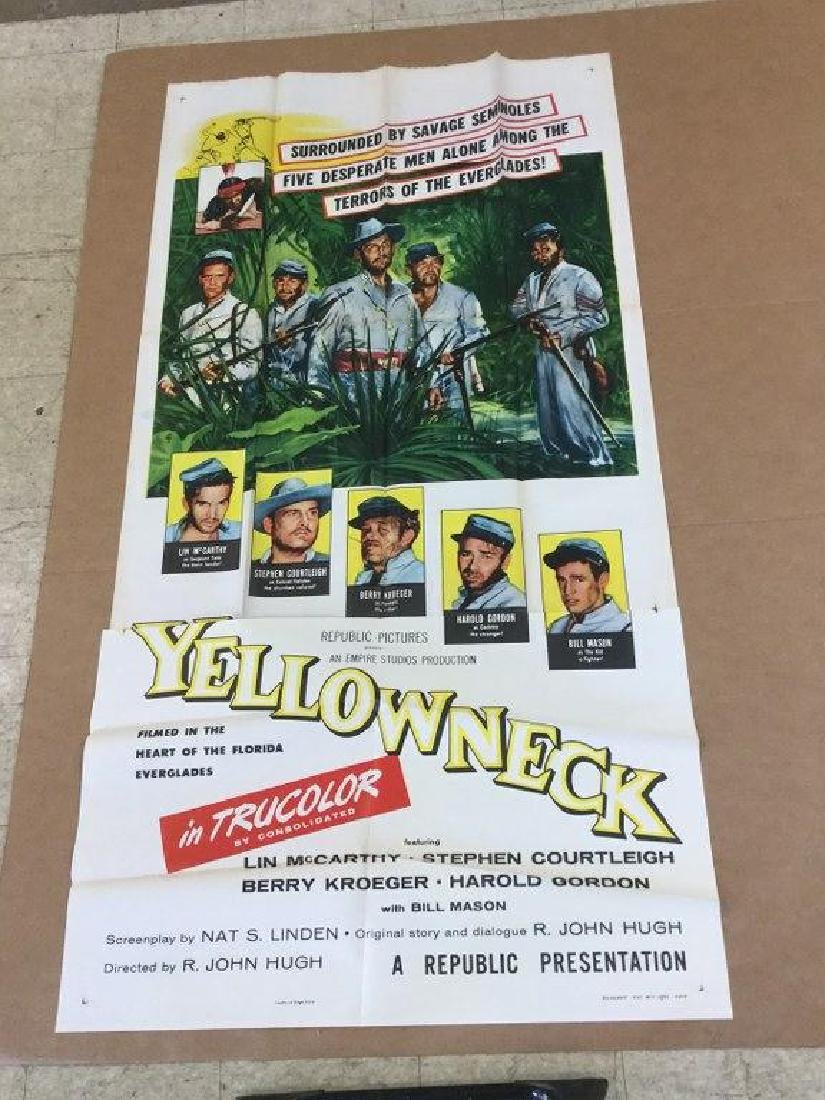 3 SHEET MOVIE POSTER YELLOWNECK, 1955, UNFOLDED OLD