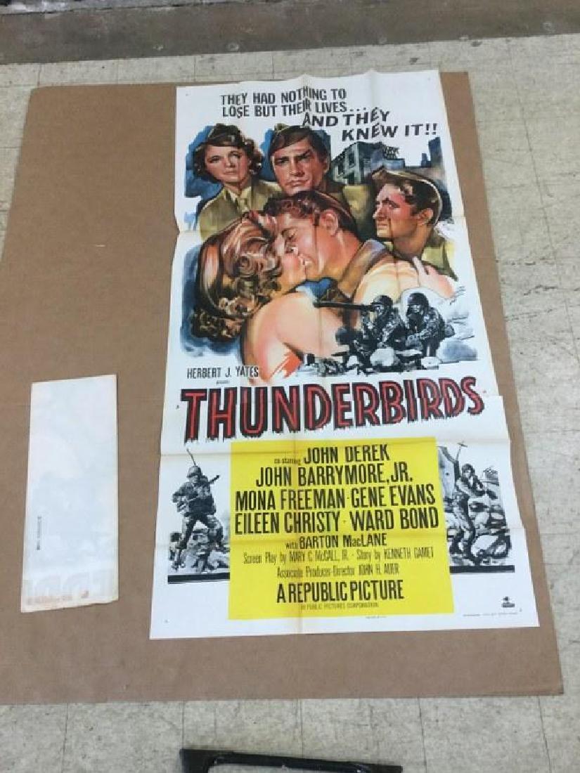 (2) 3 SHEET MOVIE POSTERS THUNDERBIRDS, 1952, UNFOLDED