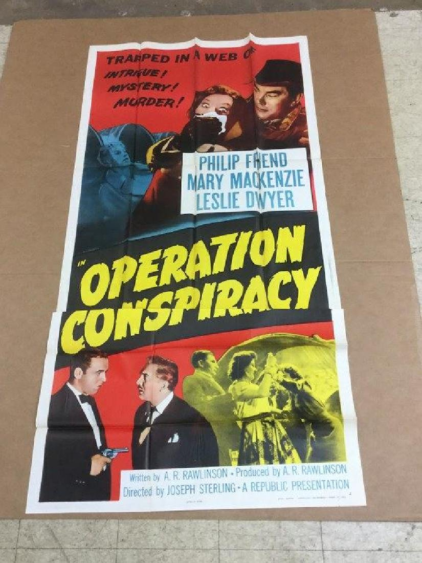 3 SHEET MOVIE POSTER OPERATION CONSPIRACY 1957,