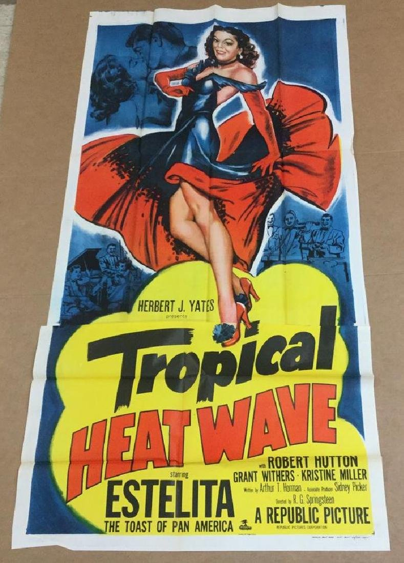 3 SHEET MOVIE POSTER TROPICAL HEAT WAVE, 1952, UNFOLDED