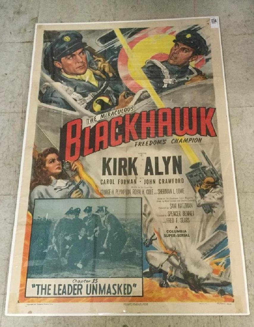 BLACKHAWK 1 SHEET MOVIE POSTER, 1952, HAS SOME PAINT
