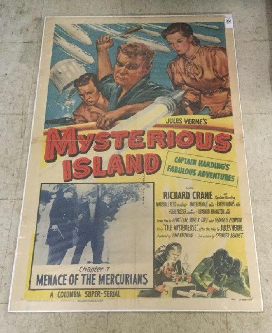 MYSTERIOUS ISLAND 1 SHEET 1951. OLD TAPE MARKS ON