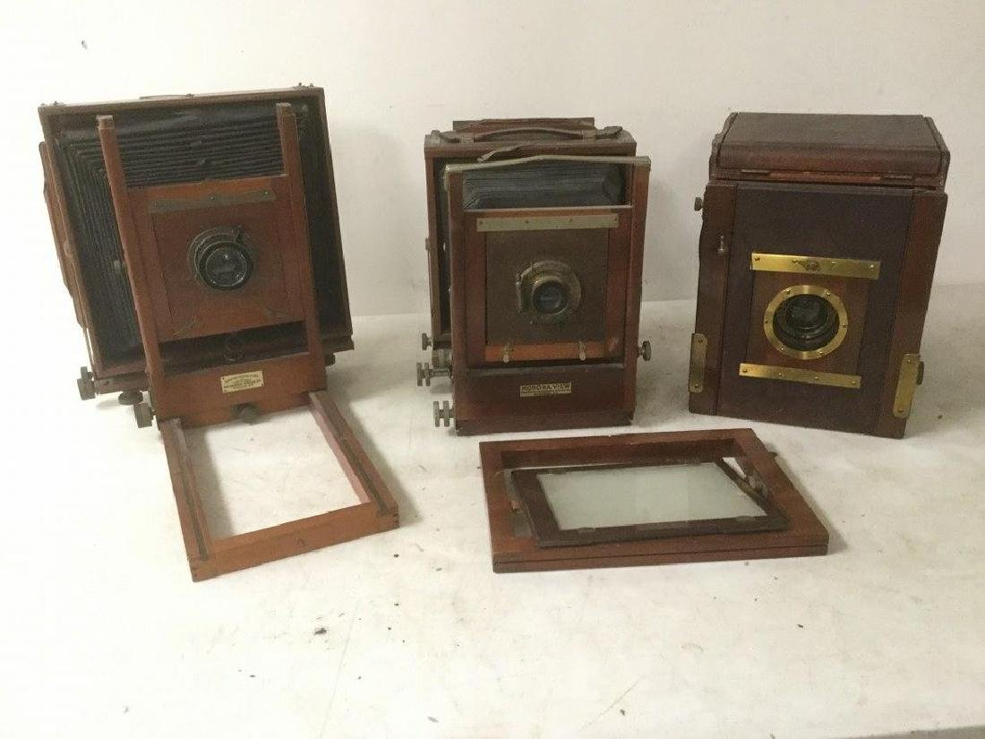 3 LARGE FOLDING CAMERAS- CAMERA BY ROSS, LONDON,