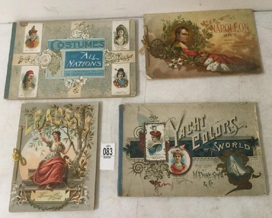 4 TOBACCO CARD ALBUMS, INCLUDING COSTUMES OF ALL