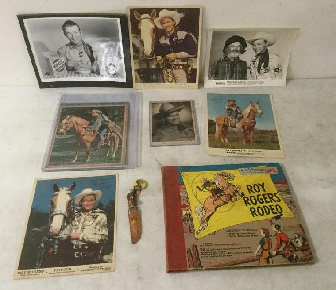 ROY ROGERS VINTAGE LOT INCLUDING PINBACK KNIFE,