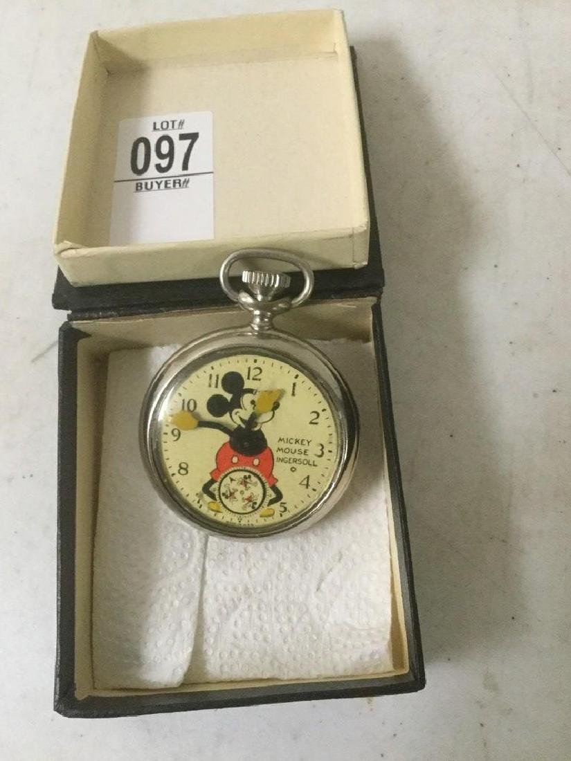 MICKEY MOUSE INGERSOLL VINTAGE POCKET WATCH, NON