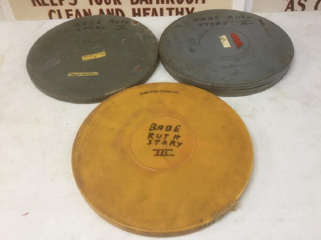 THE BABE RUTH STORY, 3 VINTAGE 16MM MOVIE REELS, CIRCA