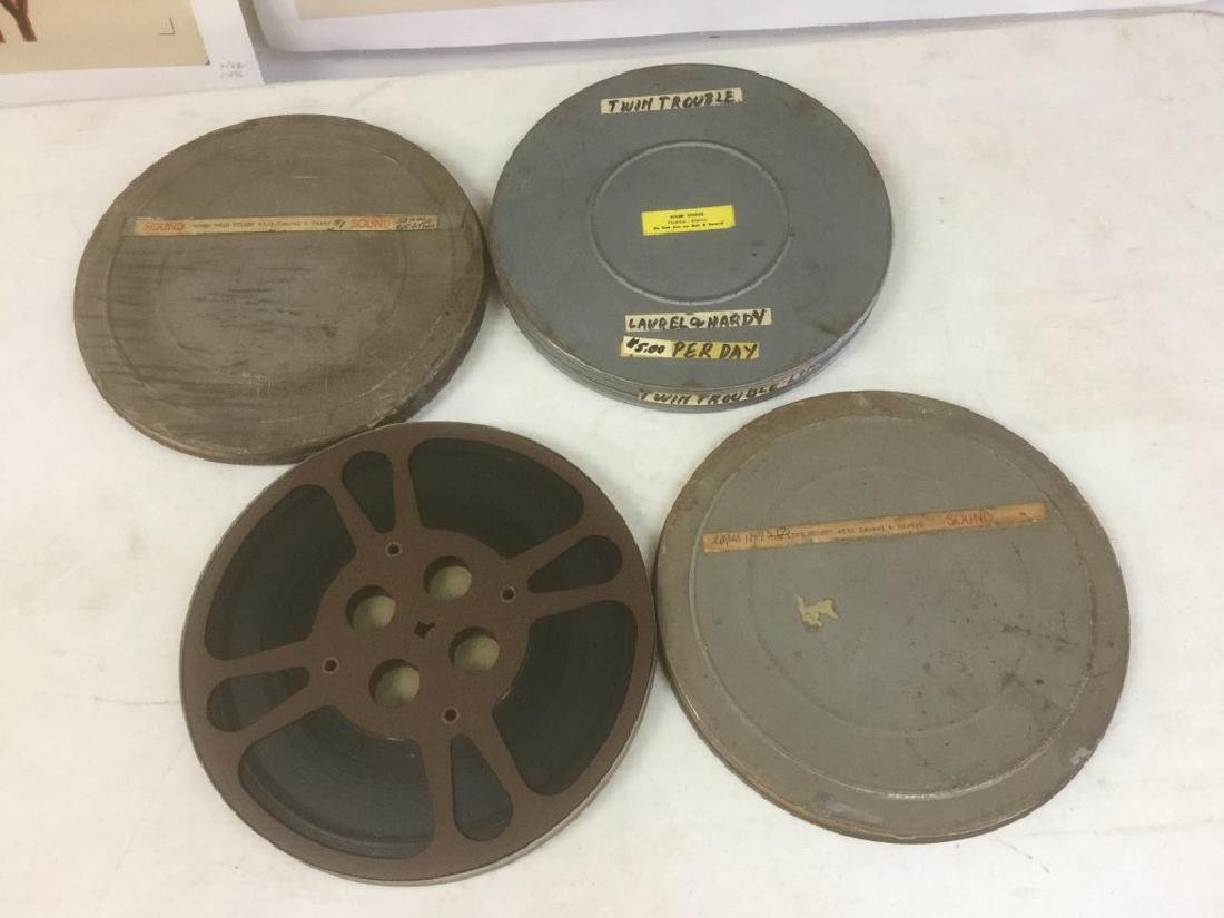 3 VINTAGE 16MM LAUREL & HARDY MOVIE REELS INCLUDING THE