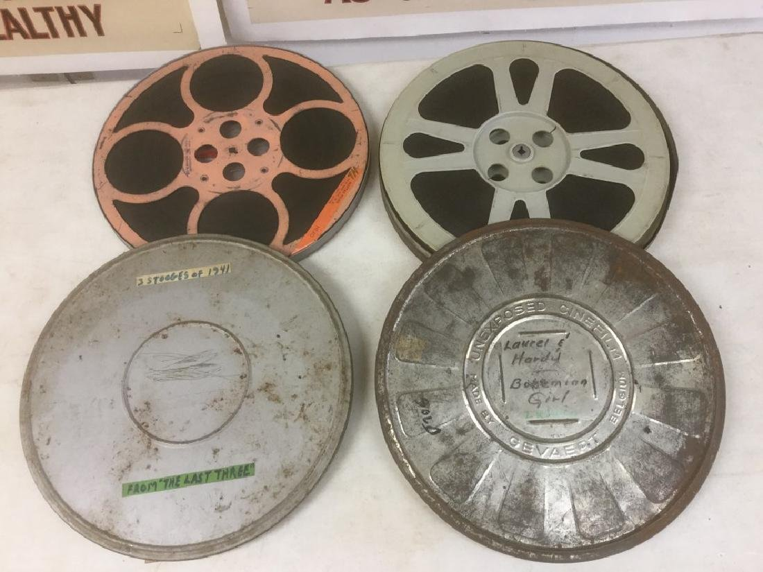3 VINTAGE 16MM MOVIE REELS INCLUDING THE 3 STOOGES- THE