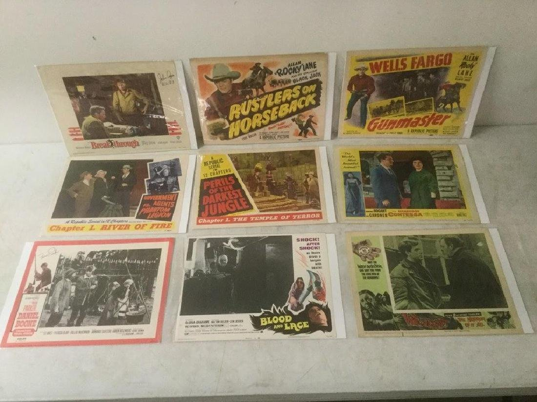 9 LOBBY CARDS INCLUDING BREAK THROUGH 1950 AUTOGRAPHED