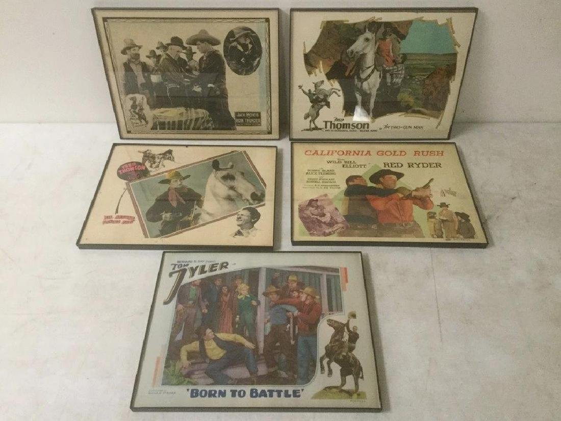 5 WESTERN LOBBY CARDS INCLUDING JACK HOXIE IN RIDING