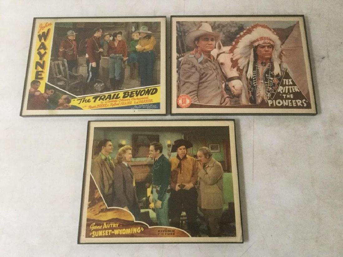 3 WESTERN LOBBY CARDS INCLUDING GENE AUTRY IN SUNSET IN