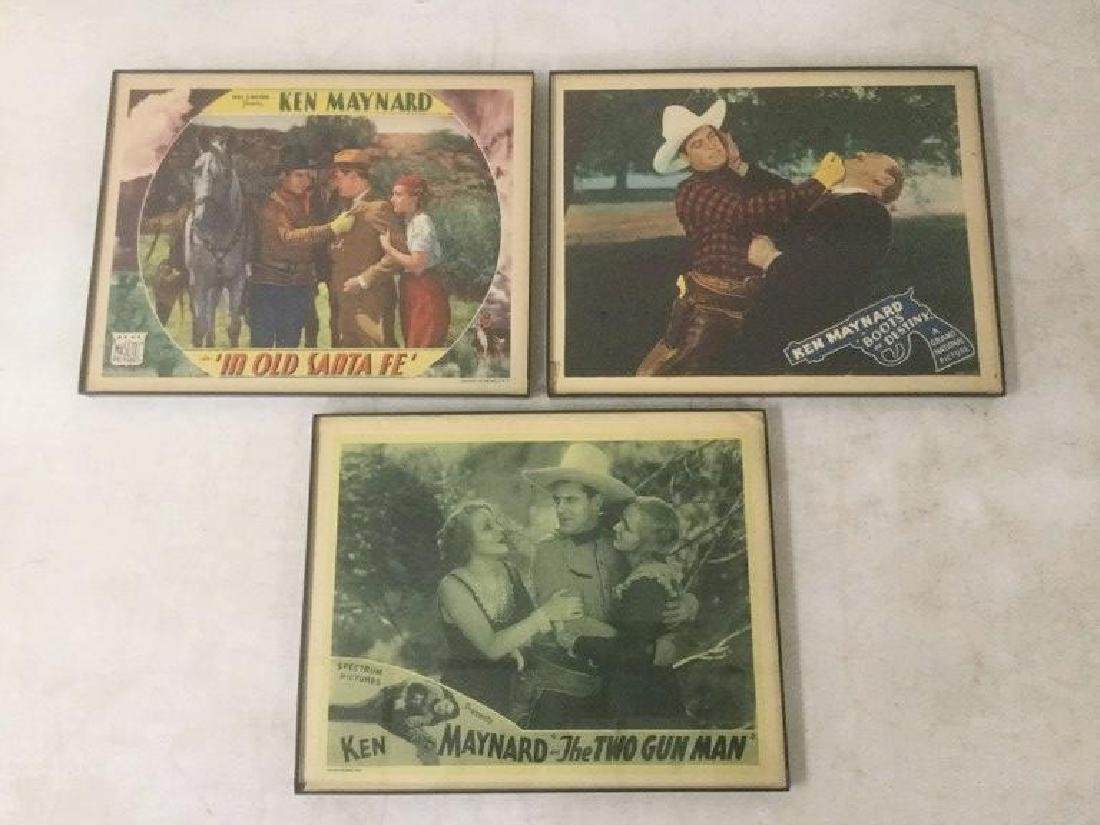 3 WESTERN LOBBY CARDS WITH KEN MAYNARD INCLUDING THE