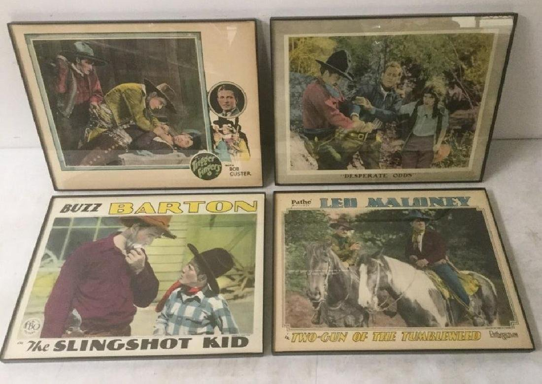 4 EARLY WESTERN LOBBY CARDS INCLUDING TRIGGER FINGERS