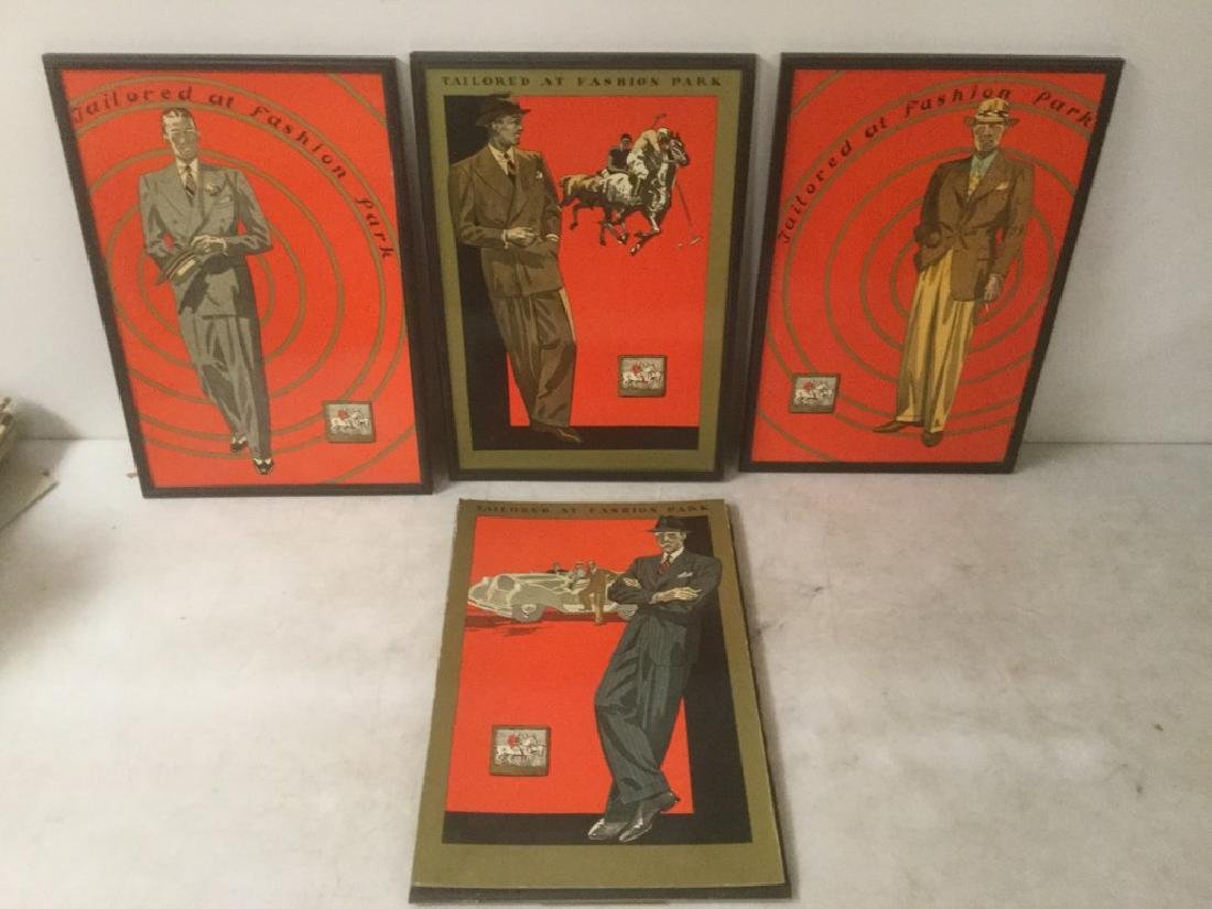 (4) 1930'S MEN'S STORE ADV. DISPLAYS - TAILORED AT