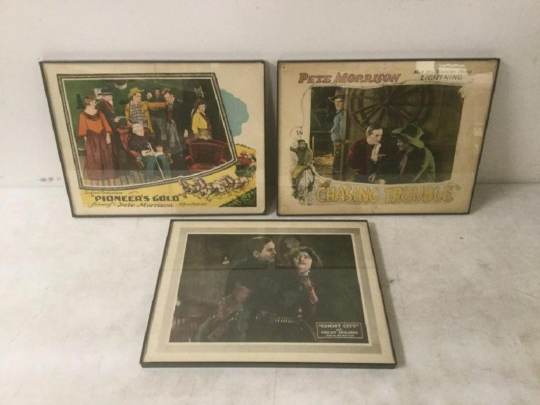 3 EARLY WESTERN LOBBY CARDS INCL. 1926 CHASING TROUBLE