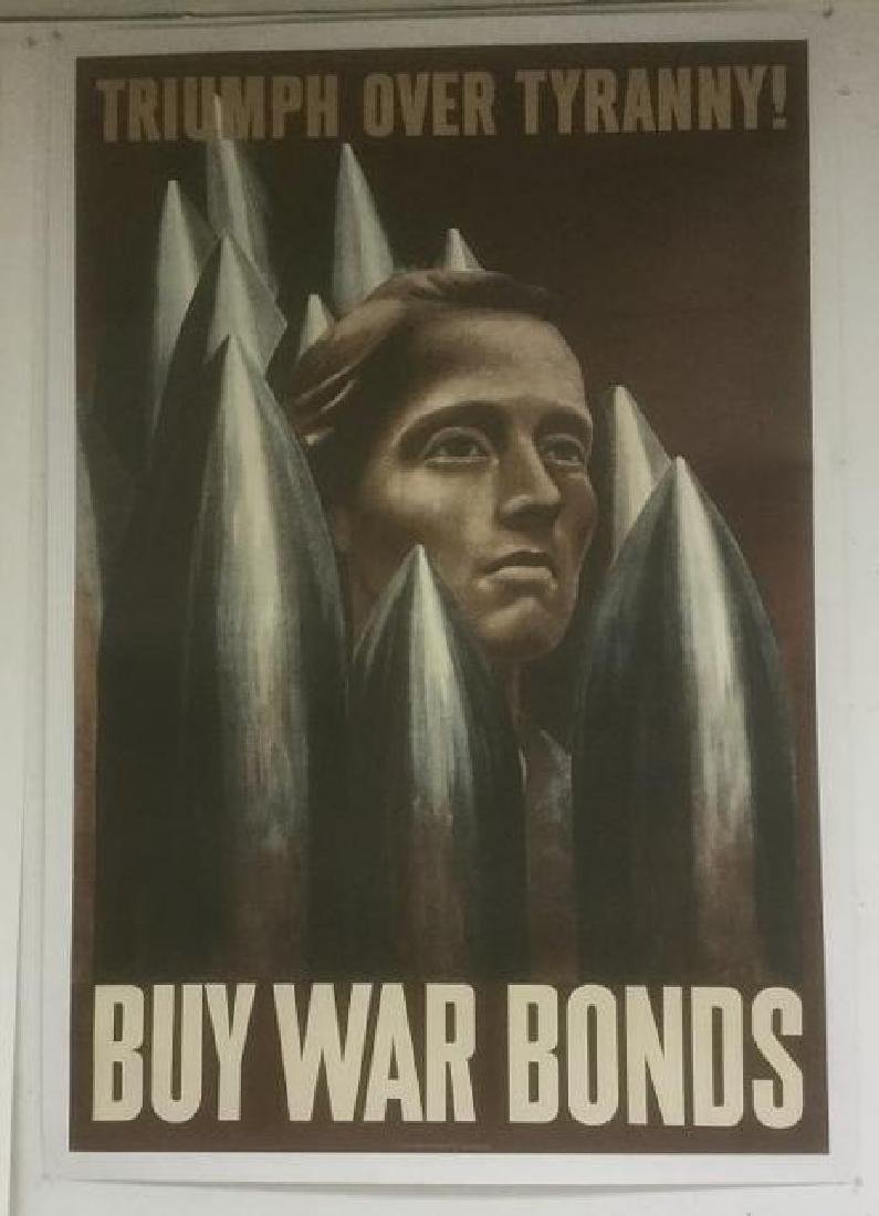 WWII BUY WAR BONDS POSTER, 1942, LINEN BACKED, TRIUMPH