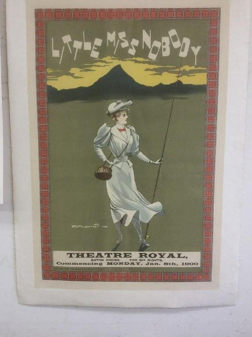 LITTLE MISS NOBODY THEATER POSTER, C. 1900, LINEN