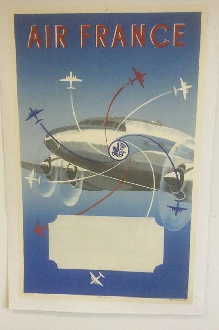 AIR FRANCE POSTER, C. 1950, LINEN BACKED, PRINTED IN