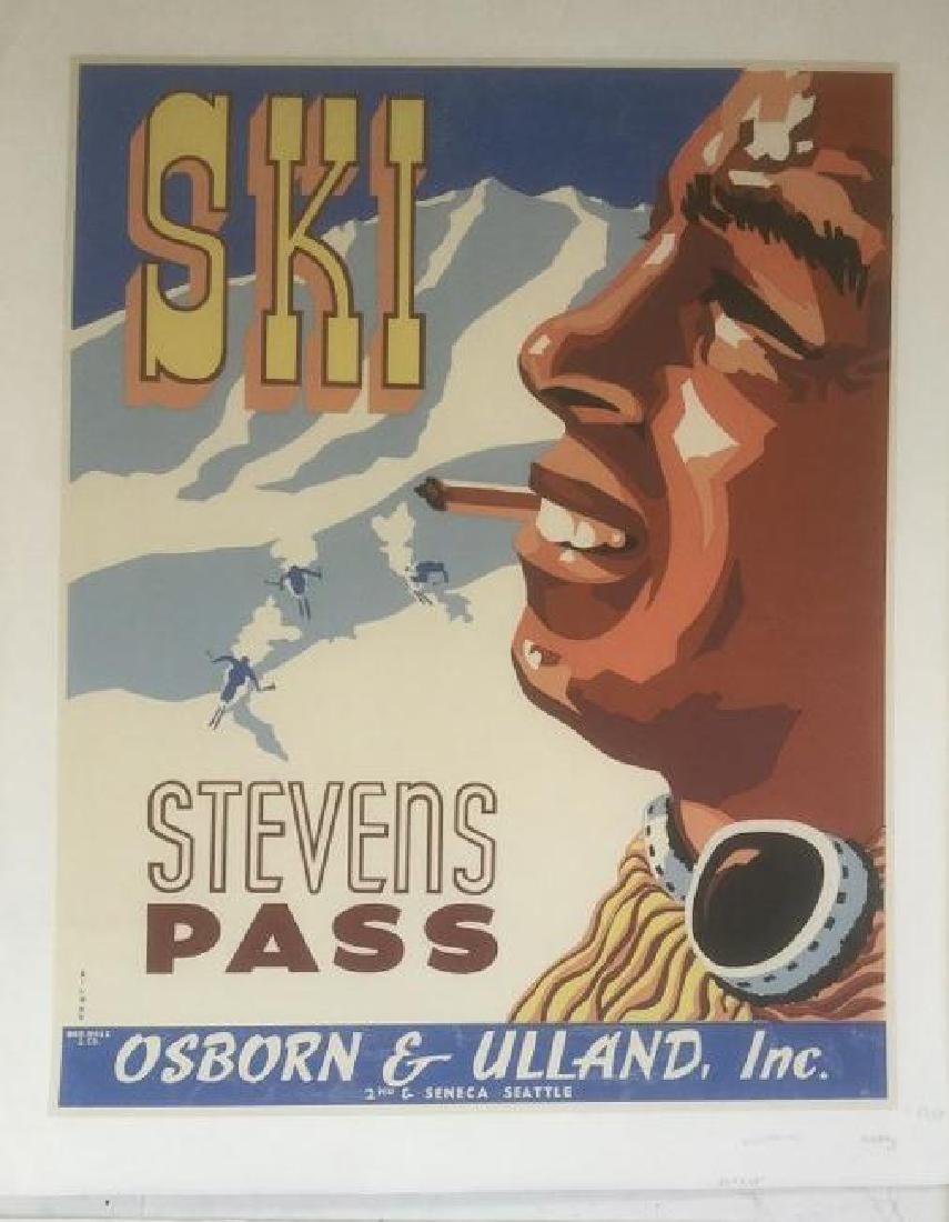 STEVENS PASS SKI POSTER, C. 1939, LINEN BACKED, ARTIST