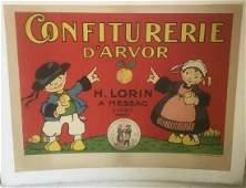 CONFITURERIE DARVOR FRENCH POSTER C 1910 LINEN