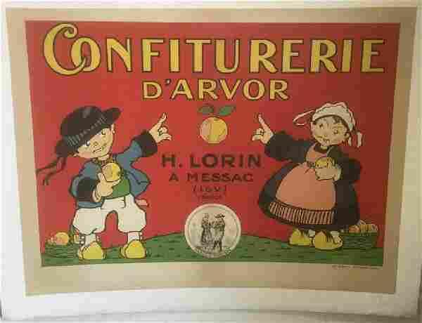 CONFITURERIE D'ARVOR FRENCH POSTER, C. 1910, LINEN
