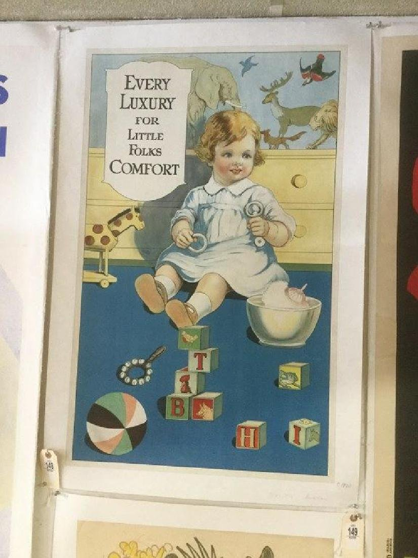EVERY LUXURY FOR LITTLE FOLKS COMFORT POSTER, C. 1920,
