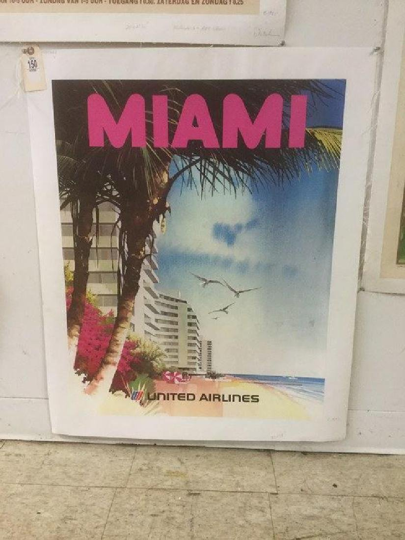 UNITED AIRLINES MIAMI TRAVEL POSTER, C. 1970, LINEN