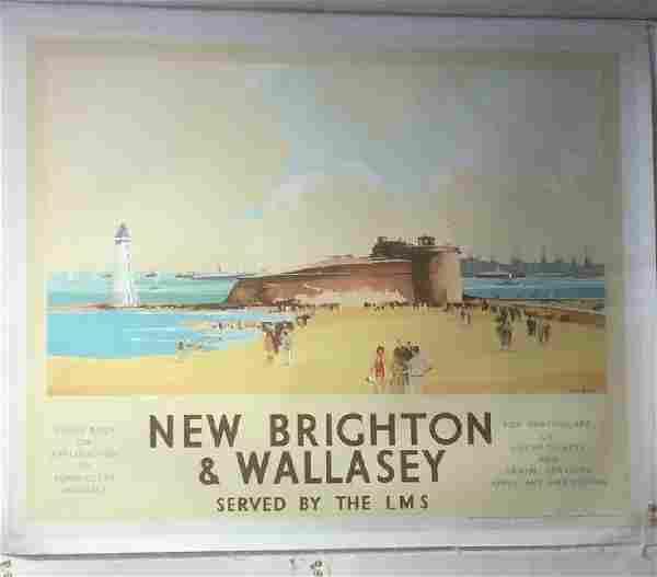 NEW BRIGHTON & WALLASEY TRAVEL POSTER, C. 1930, LINEN