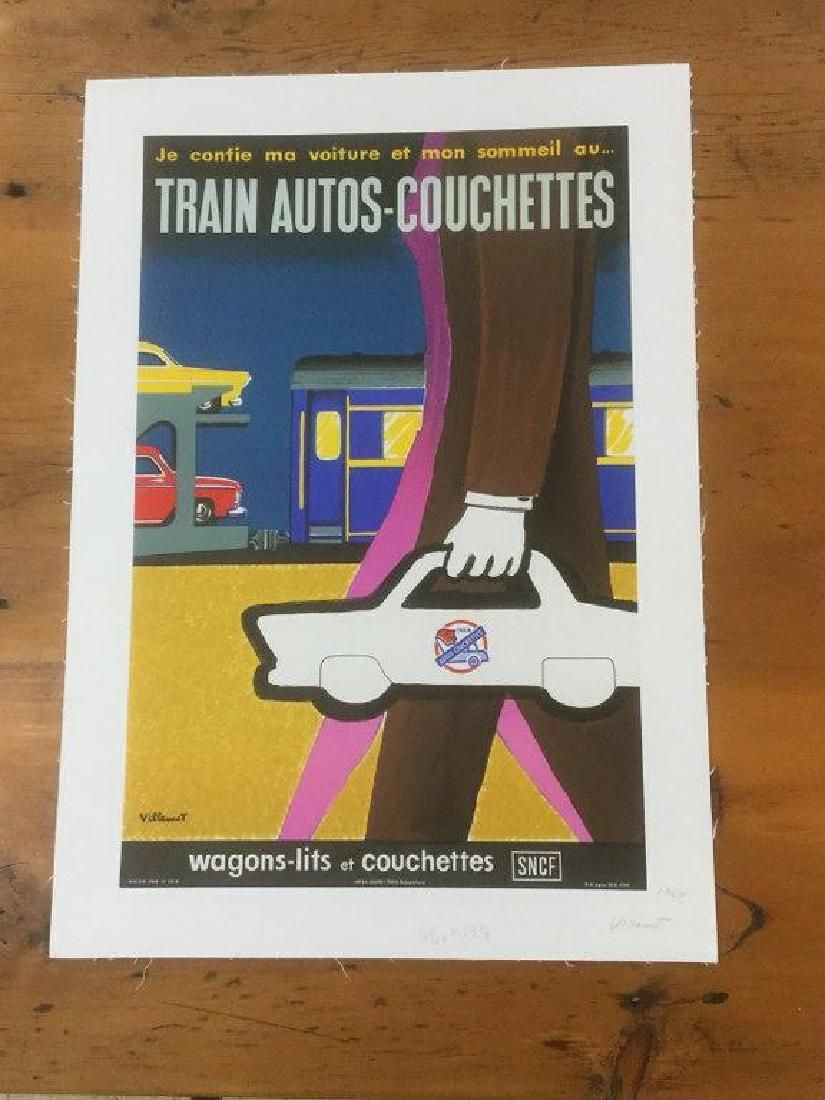 TRAIN AUTO-COUCHETTES FRENCH POSTER, C. 1964, LINEN