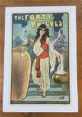 THE FORTY THIEVES POSTER C 1920 LINEN BACKED WOMAN